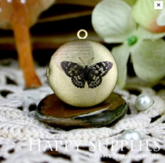 1pcs 20mm Butterfly Handmade Antique Bronze Brass Photo Round Locket Pendant PL-20-039