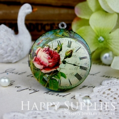 1pcs 33mm Flower Clock Handmade Antique Bronze Brass Photo Round Locket Pendant PL-33-123
