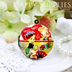 1pcs 33mm Childhood Sweetheart Handmade Antique Bronze Brass Photo Round Locket Pendant PL-33-384