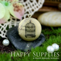 1pcs 20mm Birdcage Handmade Antique Bronze Brass Photo Round Locket Pendant PL-20-018