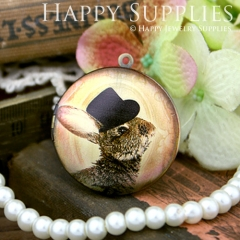 1pcs 33mm Rabbit with Hat Handmade Antique Bronze Brass Photo Round Locket Pendant PL-33-372