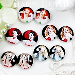 10pcs 12mm MGC68 Handmade Photo Glass Cabochon Woman