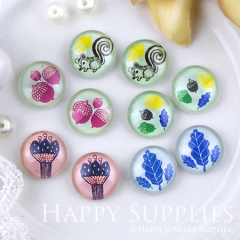 10pcs 12mm MGC193 Handmade Photo Glass Cabochon Squirrel Leaf Fruit Flower