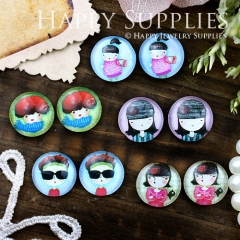 10pcs 12mm MGC108 Handmade Photo Glass Cabochon Girl