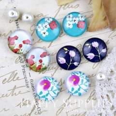 8pcs 12mm MGC200 Handmade Photo Glass Cabochon Flower