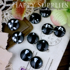 10pcs 12mm MGC51 Handmade Photo Glass Cabochon Black Bird Flower