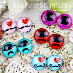10pcs 12mm MGC62 Handmade Photo Glass Cabochon Mustache Hat Heart