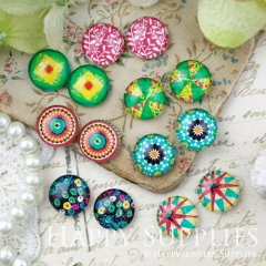14pcs 12mm MGC173 Handmade Photo Glass Cabochon Pattern Flower