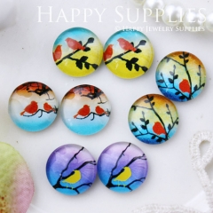 8pcs 12mm MGC102 Handmade Photo Glass Cabochon Bird