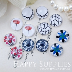 12pcs 12mm MGC188 Handmade Photo Glass Cabochon Flower Angle Pattern
