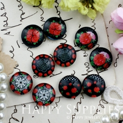 10pcs 12mm MGC112 Handmade Photo Glass Cabochon Flower Rose