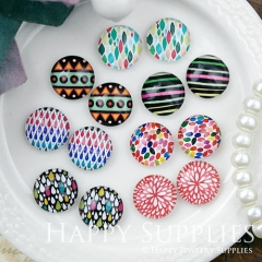 14pcs 12mm MGC170 Handmade Photo Glass Cabochon Pattern