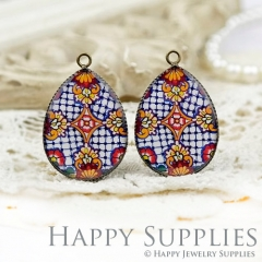 4pcs 18x25mm Pattern Handmade Photo Teardrop Glass Cabochon or Resin Charm TD241