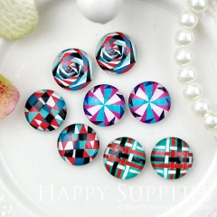 8pcs 12mm MGC166 Handmade Photo Glass Cabochon Pattern Flower