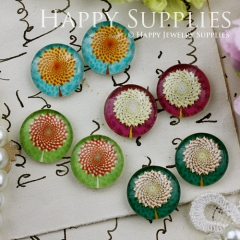8pcs 12mm MGC113 Handmade Photo Glass Cabochon Flower