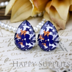 4pcs 18x25mm Blue Flower Handmade Photo Teardrop Glass Cabochon or Resin Charm TD273