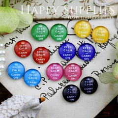 14pcs 12mm MGC129 Handmade Photo Glass Cabochon Keep calm and carry on