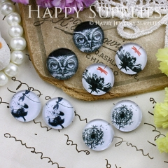 8pcs 12mm MGC118 Handmade Photo Glass Cabochon Owl Flower Dandelion Dragonfly