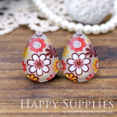 4pcs 18x25mm Flower Handmade Photo Teardrop Glass Cabochon or Resin Charm TD205