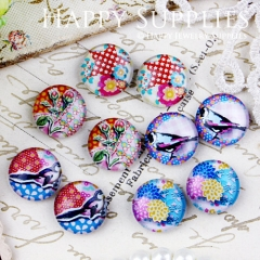 10pcs 12mm MGC85 Handmade Photo Glass Cabochon Flower Bird