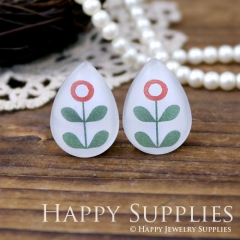 4pcs 18x25mm Flower Handmade Photo Teardrop Glass Cabochon or Resin Charm TD103