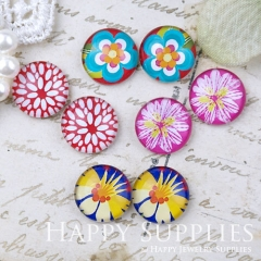 8pcs 12mm MGC176 Handmade Photo Glass Cabochon Flower