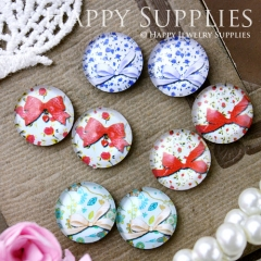 8pcs 12mm MGC103 Handmade Photo Glass Cabochon Bow