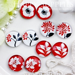 10pcs 12mm MGC66 Handmade Photo Glass Cabochon Flower