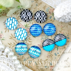 10pcs 12mm MGC174 Handmade Photo Glass Cabochon Pattern Blue