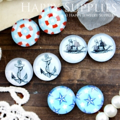 8pcs 12mm MGC63 Handmade Photo Glass Cabochon Anchor Boat Sea Star