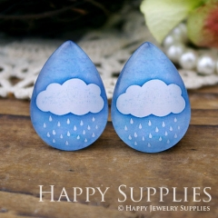 4pcs 18x25mm Cloud Handmade Photo Teardrop Glass Cabochon or Resin Charm TD070