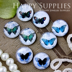 8pcs 12mm MGC100 Handmade Photo Glass Cabochon Butterfly