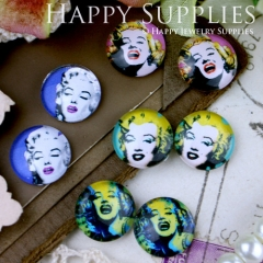 8pcs 12mm MGC45 Handmade Photo Glass Cabochon Marilyn