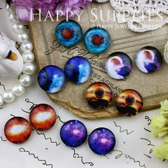 12pcs 12mm MGC117 Handmade Photo Glass Cabochon Starry sky Sun