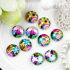 10pcs 12mm MGC151 Handmade Photo Glass Cabochon Flower