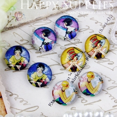8pcs 12mm MGC84 Handmade Photo Glass Cabochon Girl