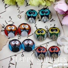 10pcs 12mm MGC111 Handmade Photo Glass Cabochon Owl