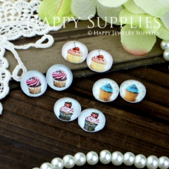 8pcs 12mm MGC41 Handmade Photo Glass Cabochon Cake