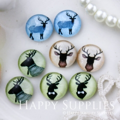 8pcs 12mm MGC101 Handmade Photo Glass Cabochon Deer