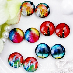 10pcs 12mm MGC69 Handmade Photo Glass Cabochon(Fether