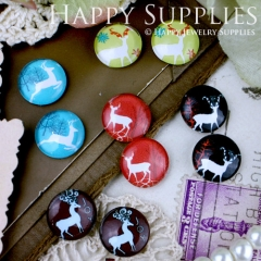 10pcs 12mm MGC49 Handmade Photo Glass Cabochon Deer