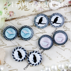 8pcs 12mm MGC81 Handmade Photo Glass Cabochon Bird