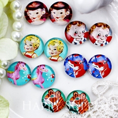 12pcs 12mm MGC67 Handmade Photo Glass Cabochon Girl Baby Horse Wolf Tiger