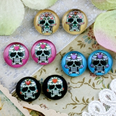 8pcs 12mm MGC127 Handmade Photo Glass Cabochon Skull