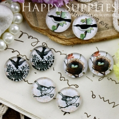 8pcs 12mm MGC121 Handmade Photo Glass Cabochon Bird