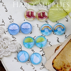 10pcs 12mm MGC124 Handmade Photo Glass Cabochon Rain Cloud Rainbow Shoes Umberlla