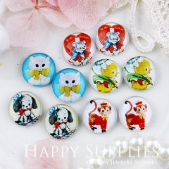 10pcs 12mm MGC91 Handmade Photo Glass Cabochon Animal Cat Dog Bird Bear Mokey