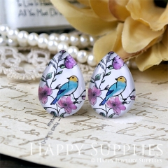 4pcs 18x25mm Bird Handmade Photo Teardrop Glass Cabochon or Resin Charm TD333