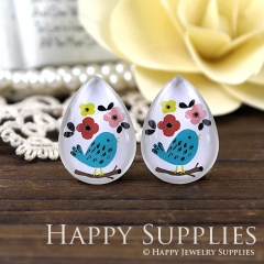 4pcs 18x25mm Bird Handmade Photo Teardrop Glass Cabochon or Resin Charm TD344