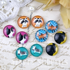 10pcs 12mm MGC196 Handmade Photo Glass Cabochon Animal Coon Fox Dog Cat Horse